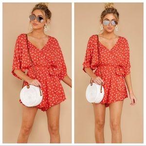 NWT Red Dress Boutique Orange Print Romper